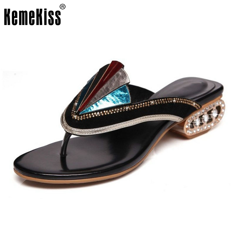 KemeKiss Simple Women Genuine Leather Summer High Heel Sandals Beading Flip Flops Gold Heel Slippers Beach Shoes Size 34-39 sandals women flower beading summer flip