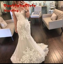 custom made fashion mermaid long wedding dresses 2017 appliques lace sweetheart tulle women bridal gown for party