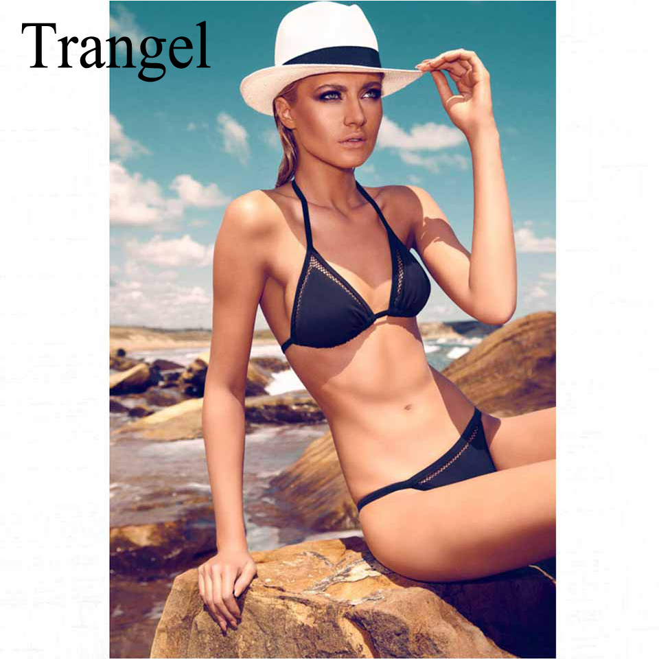 Trangel new bikini 2017 women swimwear sexy mesh bikini set vintage black swimsuit padded bathing suit halter swim wear