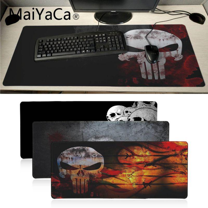 MaiYaCa The Punisher Skull Natural Rubber Gaming Mousepad Desk Mat Anti-slip Locking Keyboard Pad Large Gamer Mouse Pad For Dota