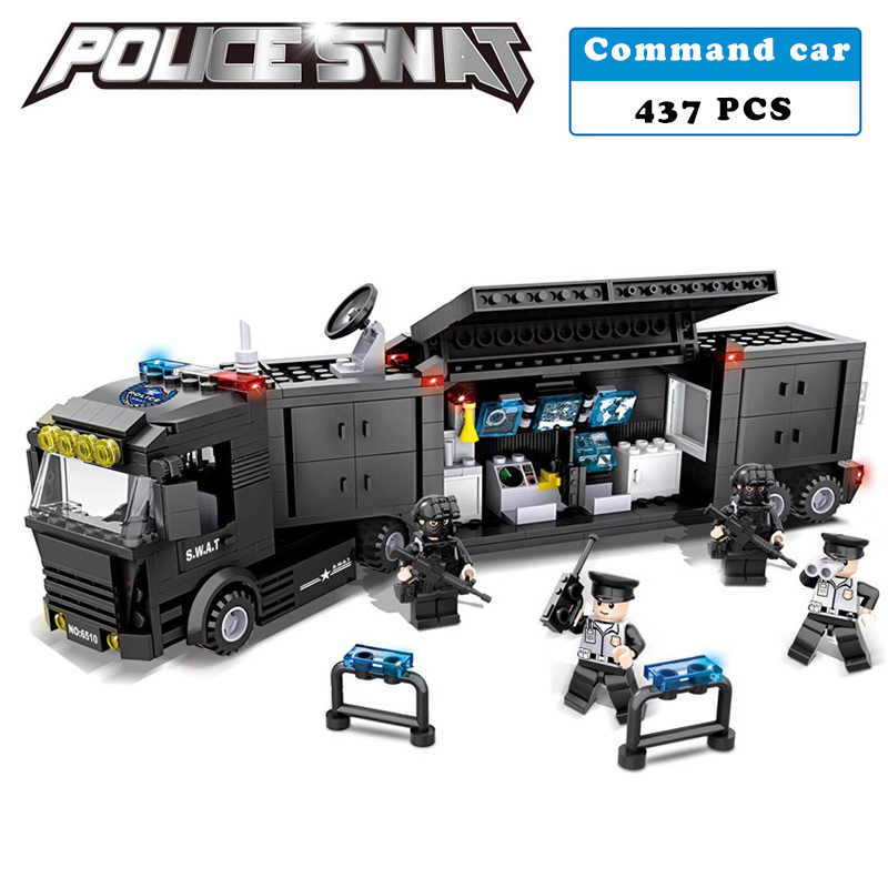 437Pcs HSANHE 6510 City Police SWAT Container Command Car Figure Blocks Educational Building Bricks Toys For Children Compatible bohs building blocks city police station coastal guard swat truck motorcycle learning