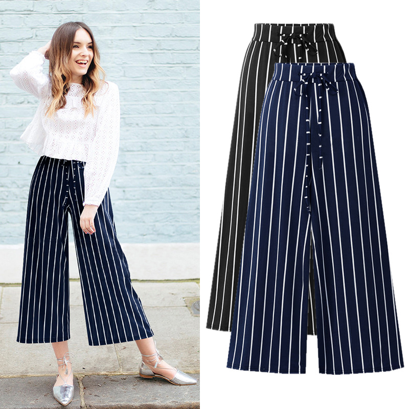 pants   for women High Waist Plus Size Cotton and linen Casual Loose Elastic black Striped   Wide     Leg     Pants   5XL 6XL