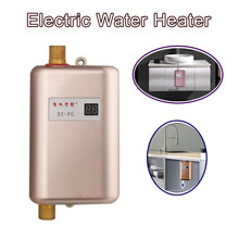 Kbxstart 3400W Continuous Water Heater Wall Mounted Electric Water Heater Thermostat Fast Heating Durchlauferhitzer Dusche 220V remote 6cm mini electric water heater wall mounted hanging shower fast heating water machine constant temperature bathing tool