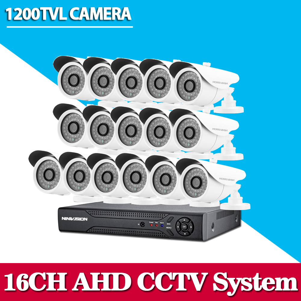 HD CCTV security system 16 channel 1080P 720p AHD DVR kit 16*1200TVL Outdoor White video surveillance security camera system greatech hd 8 channel ahd dvr kit 720p video surveillance security outdoor indoor cctv 8 cameras 1200tvl ahd system 8ch
