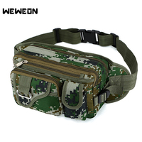 Camouflage Chest Bag Hiking Running Trekking Camping Waist Pack Phone Bags Camo Nylon Waist Bag Multi Pockets Running Pack