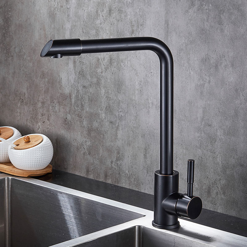 Black ORB Kitchen Faucet Basin Sink faucets Mixer Tap Cold Hot Water Swivel Spout Quality Stainless Steel SUS304 XB8035B antique red copper swivel spout kitchen faucet single handle cold and hot water mixer tap wash basin mixer sink faucets wnf388