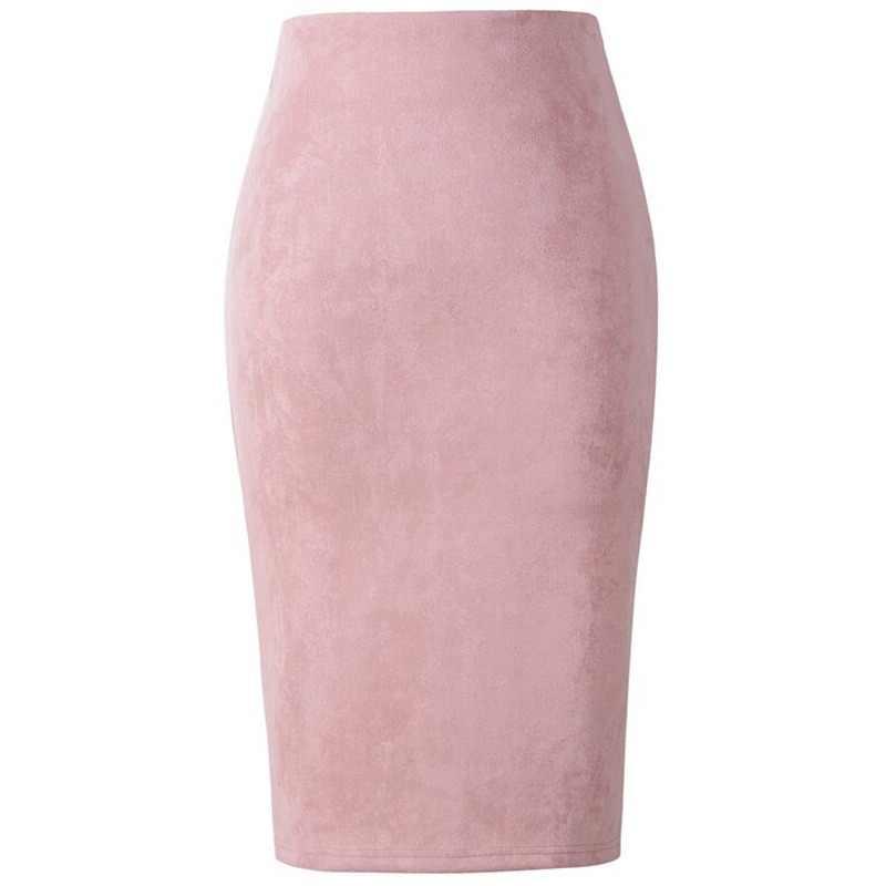 a0f868fafc Neophil 2018 Winter Women Suede Midi Pencil Skirt High Waist Gray Pink XXL  Sexy Style Stretch