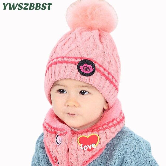 Nuevo gorro de invierno para bebé amor corazón tejido niño niña niños gorro  caliente + anillo de bufanda ... 186e72be26b