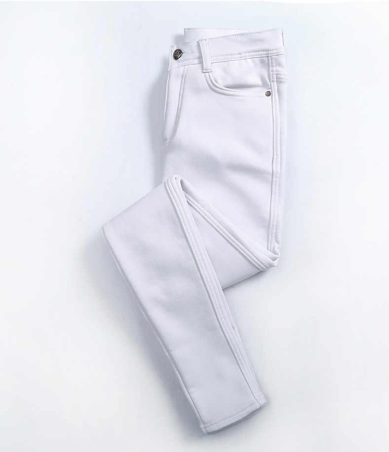 Доставка из России качественные хлопковые белые джинсы женские флисовые бархатные узкие джинсы с высокой талией Стрейчевые хлопковые джинсовые брюки-карандаш