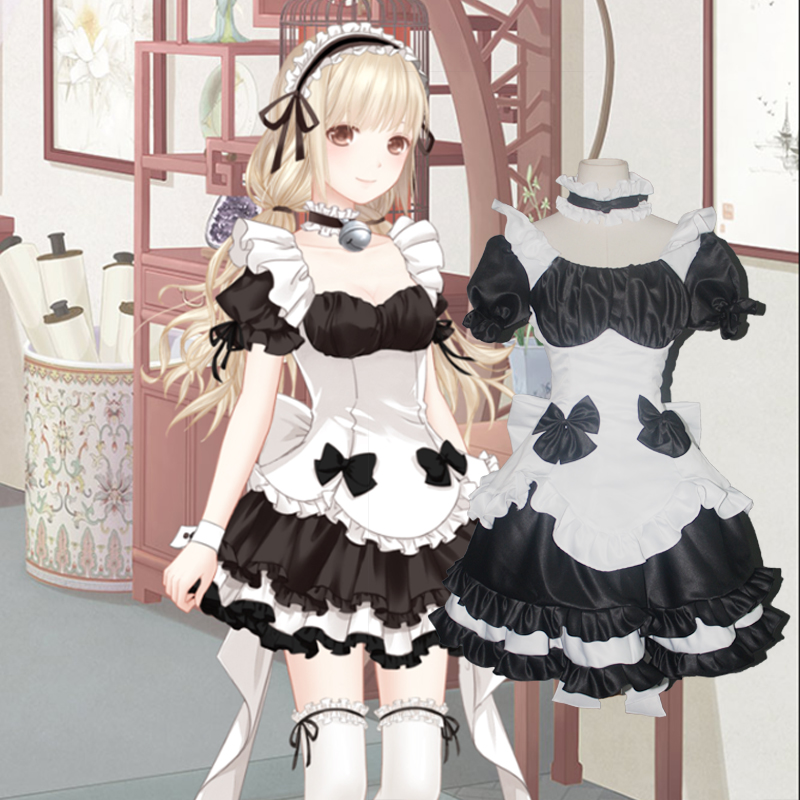 cotton black white lolita dress bowknot Medieval Dress belle ball cosplay/lolita/alice costume frenchmaid costume customs size