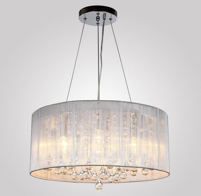 Diameter 47cm Crystal Wire Drawing Pendant Light For Dining Room White E14 Crystal Round Lamp Living Room Lights WPL238 a1 master bedroom living room lamp crystal pendant lights dining room lamp european style dual use fashion pendant lamps