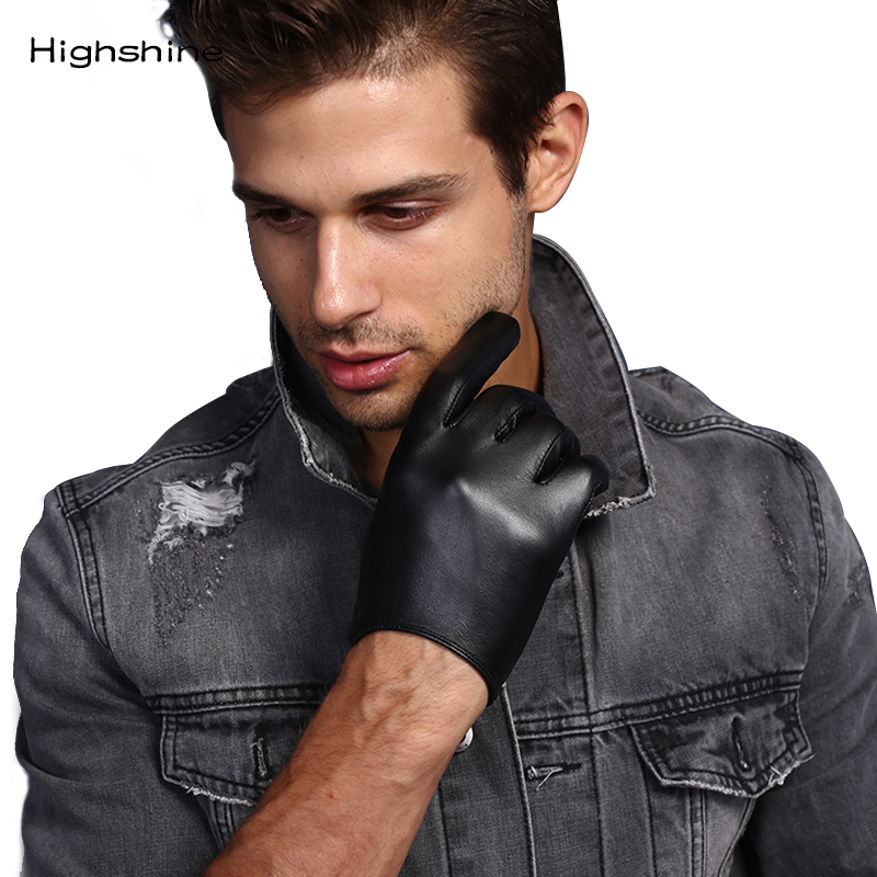 Mens Genuine Leather Gloves Male Soft Goatskin Thin Fashion Casual  Driving Gloves Warm Winter Touch Screen Short  Wrist Gloves