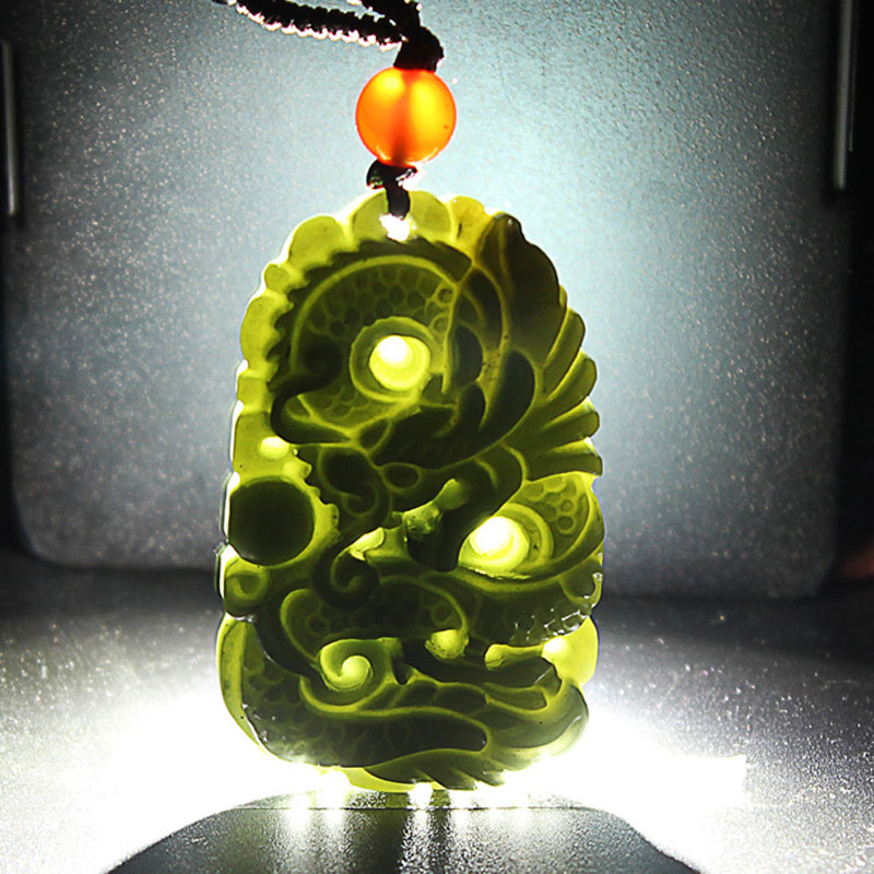 Drop Shipping XinJiang HeTian Jade Dragon Necklace Hand Carved Jade Stone Amulet Pendant Necklace For Women Men Fine Jewelry in Pendants from Jewelry Accessories