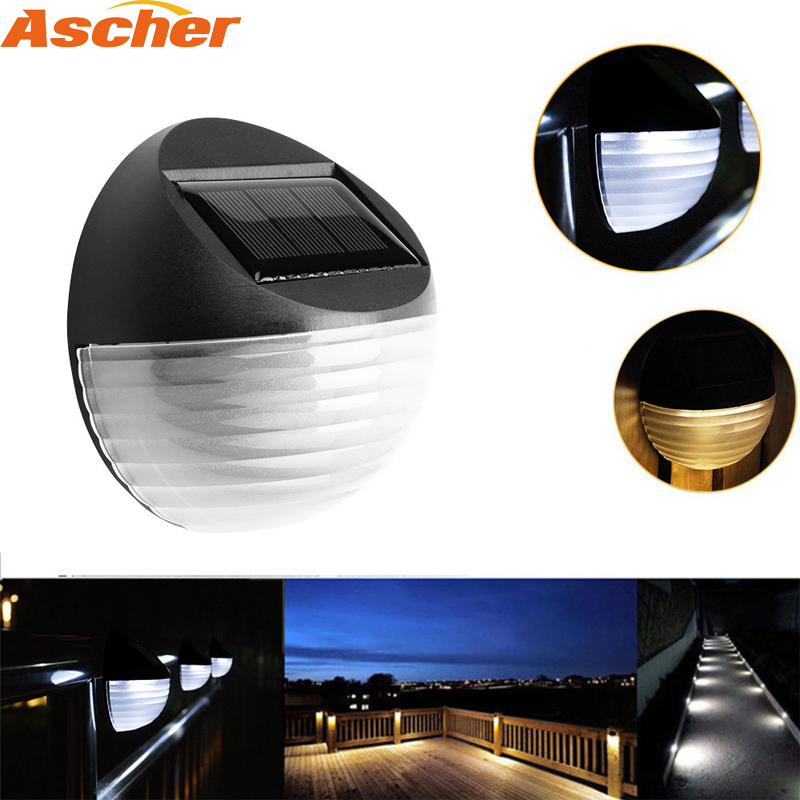 Solar Powered 6 LED Outdoor Deck Semi Circle Step Waterproof Wall Yard Garden Fence Street Security Pathway Lamp Night Light 1PC