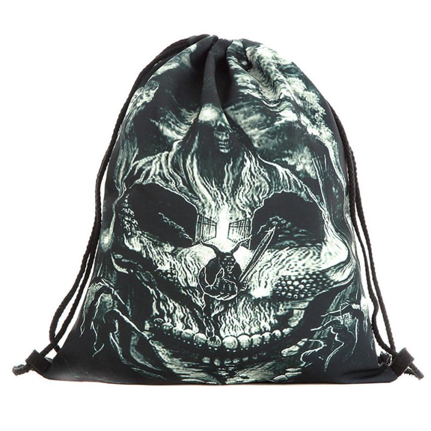 ISHOWTIENDA Drawstring Bag Fashion Women Backpack Halloween Candy Gift Bundle Pocket 3D Printing Bags Drawstring Backpack Bolsa