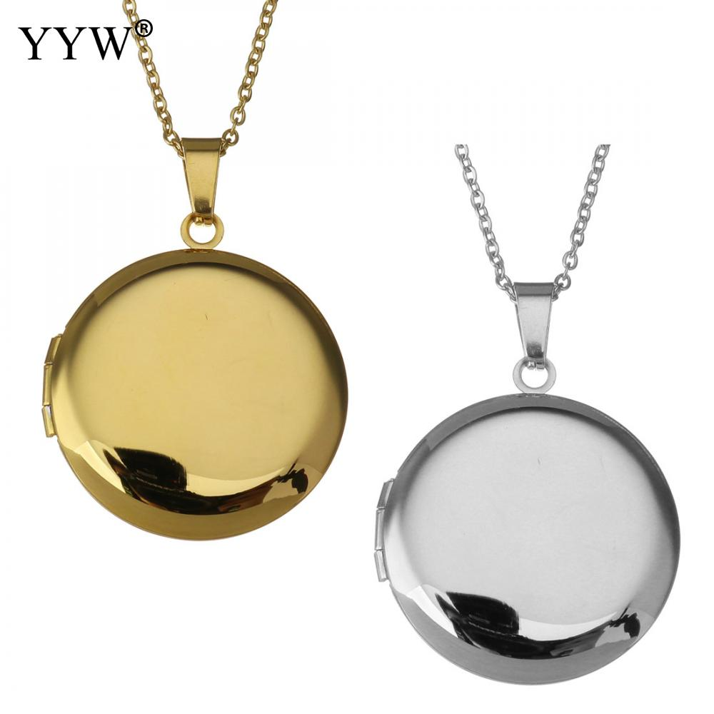 Punk Lover Jewelry Gift Vintage Round Photo Frames Can Open Locket Necklaces Silver Plated Pendants Necklace Collier Jewellery