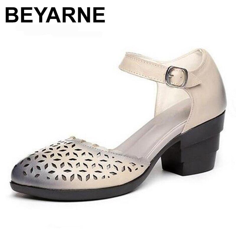 BEYARNE nouveau creux en cuir véritable chaussures d'été femmes sandales à talons hauts sandales élégantes confortables pointues sandales de mode