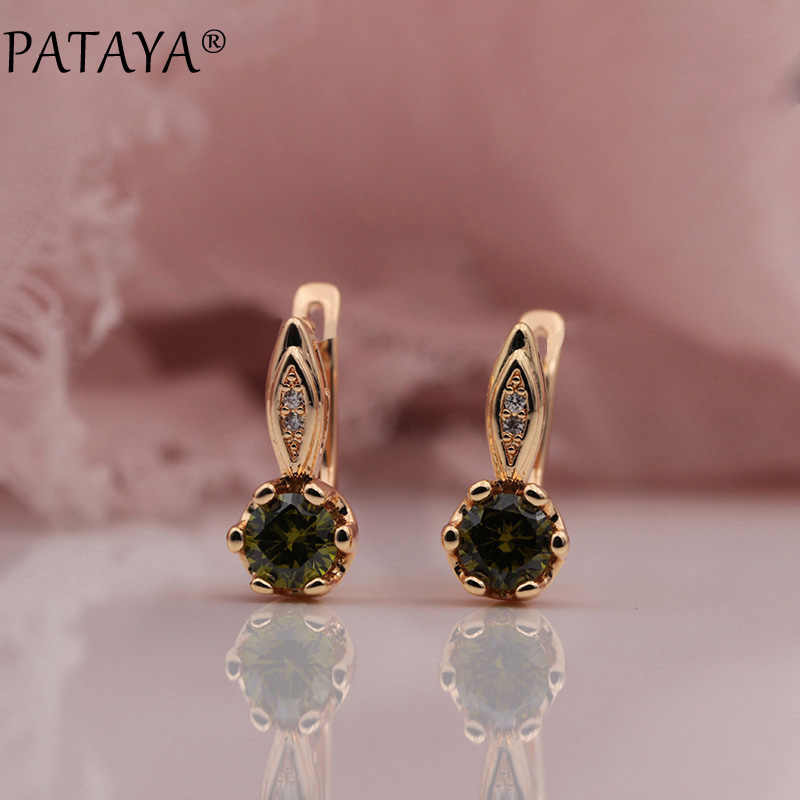 PATAYA 328 Anniversary 585 Rose Gold Olive Green Round Tricolor Natural Zircon Dangle Earrings Women Wedding Party Fine Jewelry