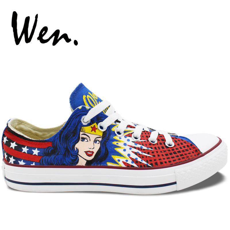 aliexpress buy online terrific value US $49.5 50% OFF|Wen Hand Painted Shoes Wonder Woman Custom Design Men  Women's Low Top Casual Canvas Sneakers Platform Flat Lace up Plimsolls-in  Men's ...