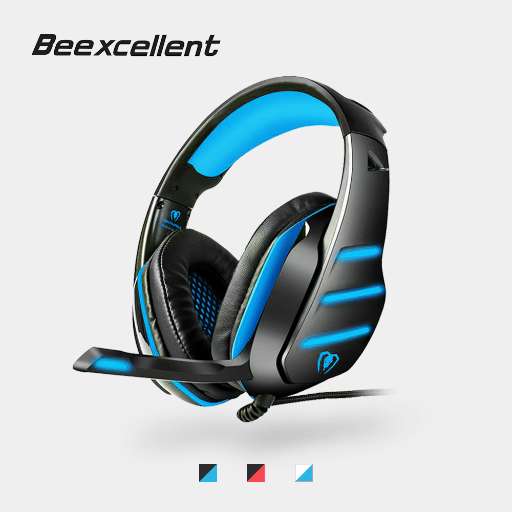 Beexcellent GM-3 Gaming Headset USB Wired Stereo Music Headphones w/ LED Mic Bass Noise Isolating Earphone for Laptop Tablet PS4 pc gaming headset gm 3 wired stereo led light bass over ear professional gaming headphones with 3 5mm mic noise isolating