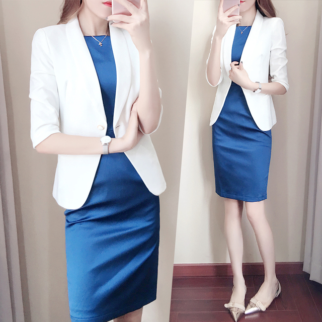 56eb96c0e56af5 Royal Blue blazer women suit with white jackets two piece skirt suit ...