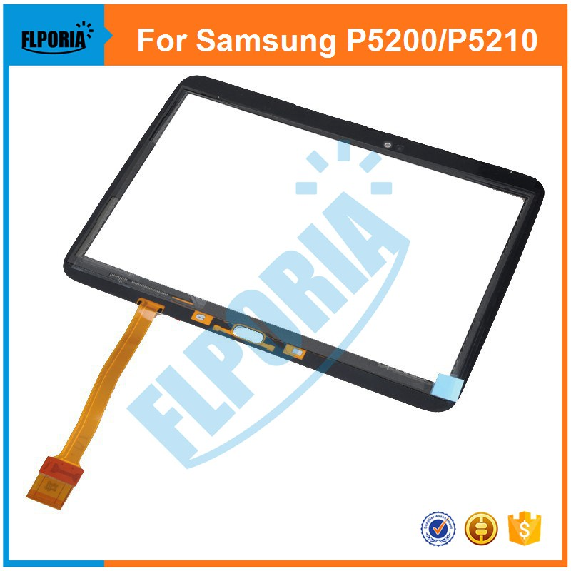 Tablet Touch Panel For Samsung Galaxy Tab 3 10.1 P5200 P5210 Outer Glass Touch Screen Digitizer with Flex Cable Assembly 10 1 inch for samsung galaxy tab 2 ii gt p5100 p5110 n8000 n8010 n8013 tablet touch screen digitizer glass panel