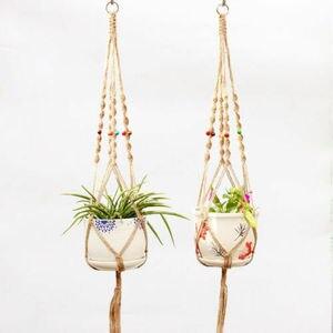 Image 2 - Garden Decoration Vintage Macrame Plant Hanger Flower Pot Garden Holder Legs Hanging Rope Basket Handcrafted Braided Hanger Pot