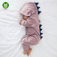 KEYING Baby Romper Long Sleeve Cotton Hooded Dinosaur Romper Baby Romper Zipper Jumpsuit For 0 2 Years Old 2018 New Arrival