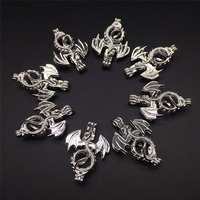 8pcs Bright Silver Creative Flying Dragon Jewelry Making Supplies Copper Beads Cage Pendant Essential Oil Diffuser