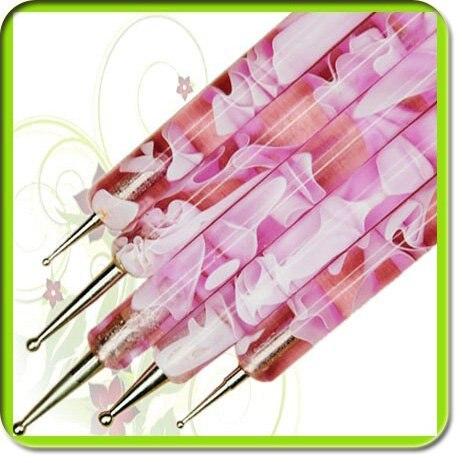 5 шт./компл. 2 способа Сталь расставить Marbleizing Ручка Дизайн ногтей украшения инструмент Дизайн ногтей расставить Paint Pen