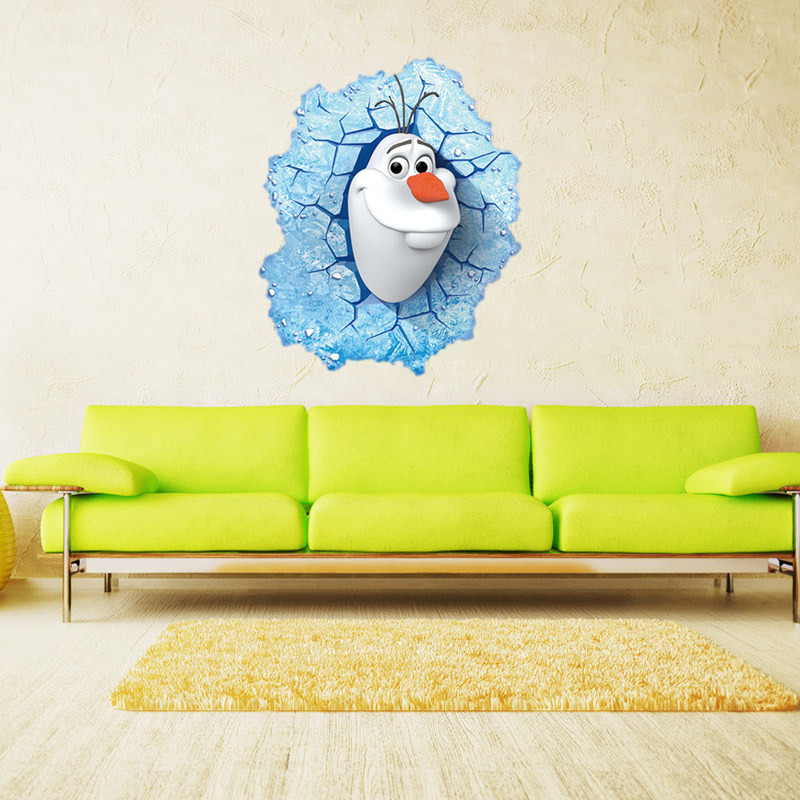 3D Movie Cartoon Wall Stickers Olaf Wall decals DIY Child Wallpaper ...