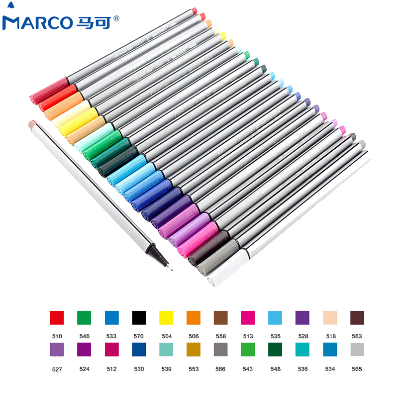 Marco 0.4MM 24Colors Water Based Assorted Ink Non-toxic Material Marker Pen brush Triangular Fineliner Pens for Drawing Graffiti 0 4mm 24 colors art marker pen fine draw point 88 fineliner pens painting pencils children pens no tox drawing marker sketch