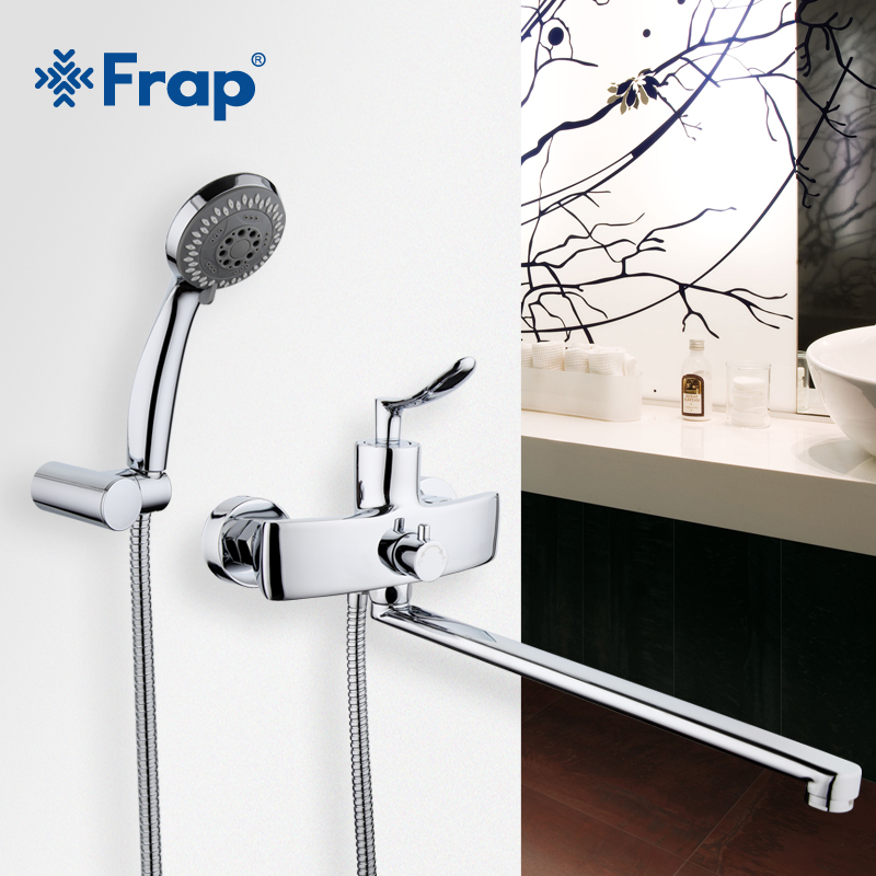 Frap New Arrival Single Handle Bathroom Mixer 35cm Stainless Steel Long Nose Outlet Brass Shower Faucet