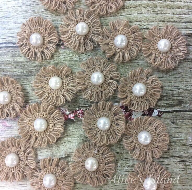 50pcs/lot Natural Jute Burlap Hessian flower with Artificial beads vintage wedding favor rustic wedding decoration centerpieces thumbnail