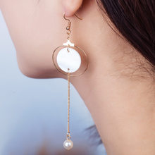 Gold Silver Drop Earrings Shell Simulated Pearl Long Chain Tassel Charm Round Circle Square Dangle Eardrop Women Ear Accessories(China)
