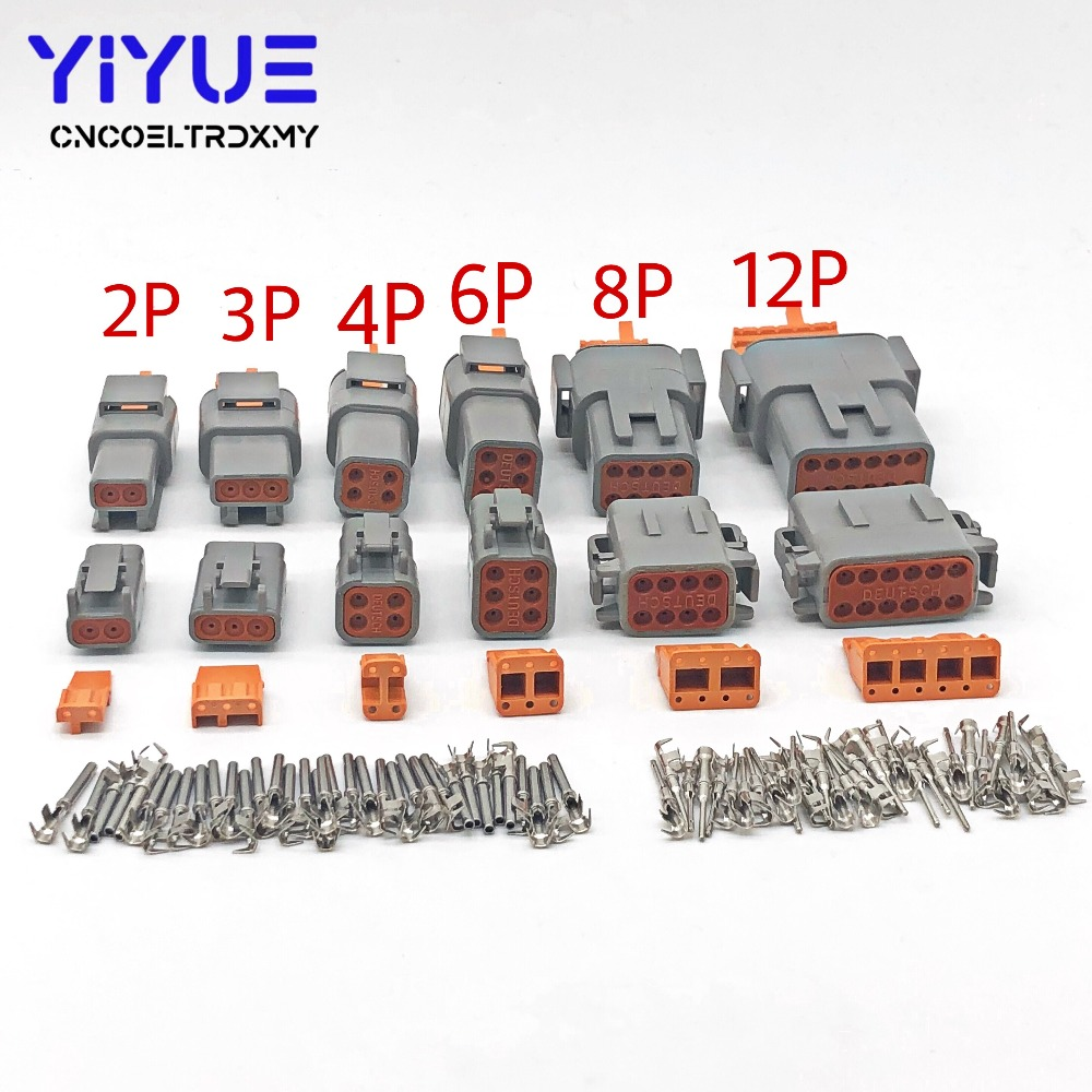 1 Sets Deutsch DTM 2-12P <font><b>Male</b></font> Female Auto Waterproof Connector Automotive Sealed Plug With Pins image