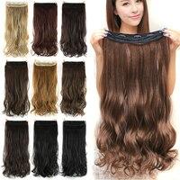 Soowee 60 см Длинные Синтетические волосы на заколках для наращивания волос термостойкие шиньоны натуральные волнистые волосы