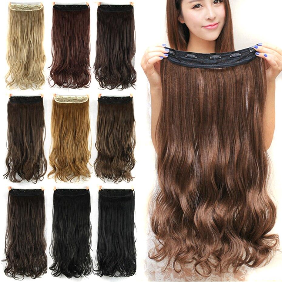 Soowee 60 cm Lange Synthetische Haar Clip In Haarverlängerung Hitzebeständige Haarteil Natürliche Wellenförmige Haarteil
