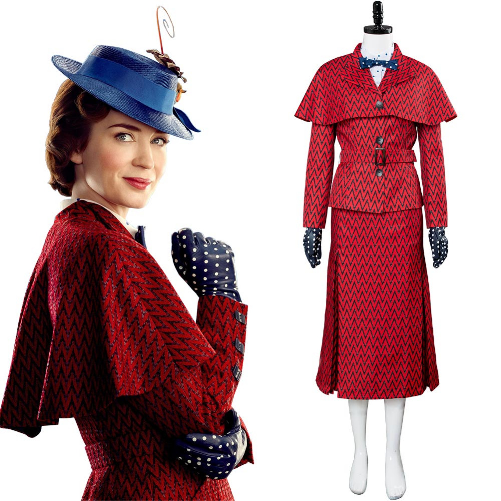 Movie Mary Poppins Returns Cosplay Costume Red Uniform Mary Poppins Costume Adult Women Halloween Carnival Costume
