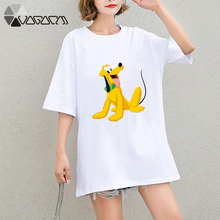 2019 Summer Clothing Women Goofy Casual Funny Dog Mouse Cartoon Tops Tees Short Sleeve Loose Plus Size T Shirts Comfort