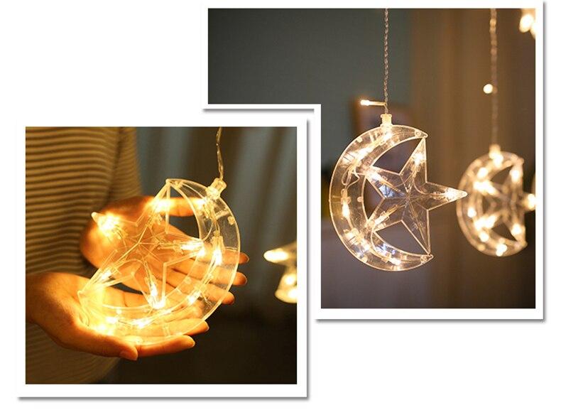 Natal LEVOU Estrela e Lua Cortinas luzes