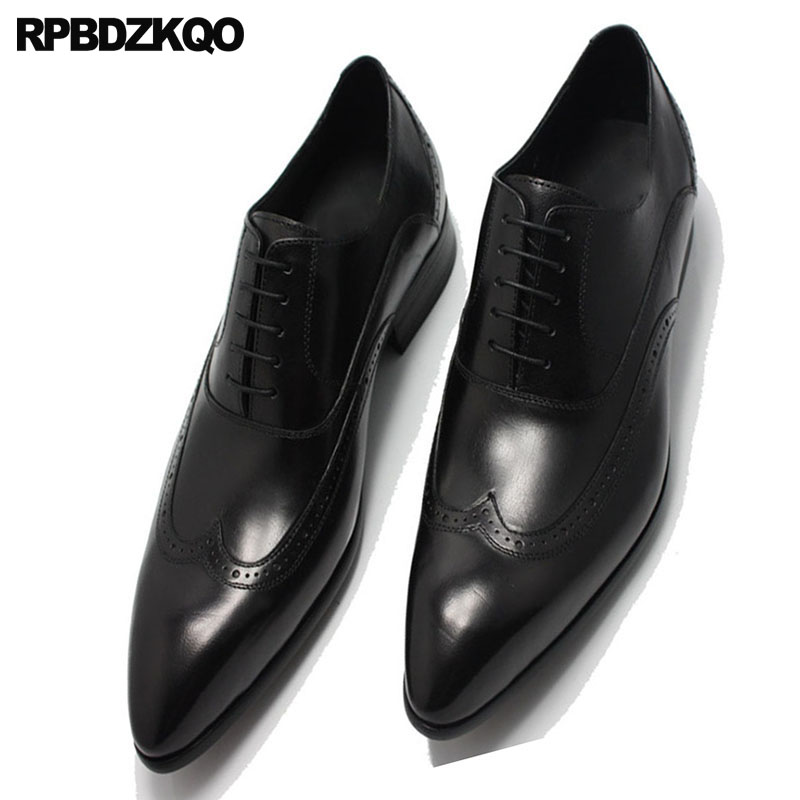 Punta Patent Wingtip Burdeos Negro Black Red Del Europea Gran Pie Oficina Cowhide Charol black Tamaño Italia wine Leather Oxfords Brogue Puntiagudo Cowhide Italiana Dedo Hombres Zapatos Znp1IZ7