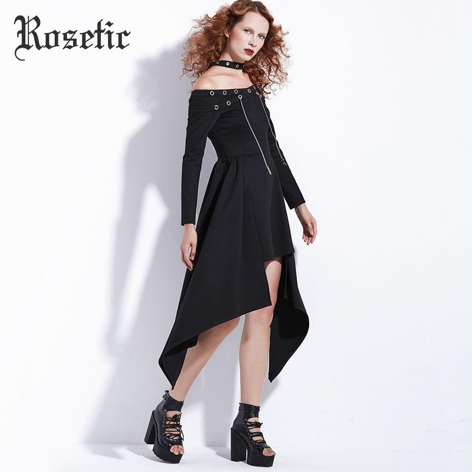 Rosetic gothique robe Punk Rock femmes automne noir asymétrique Steampunk Streetwear mode Sexy Club décontracté Harajuku Goth robe - 2