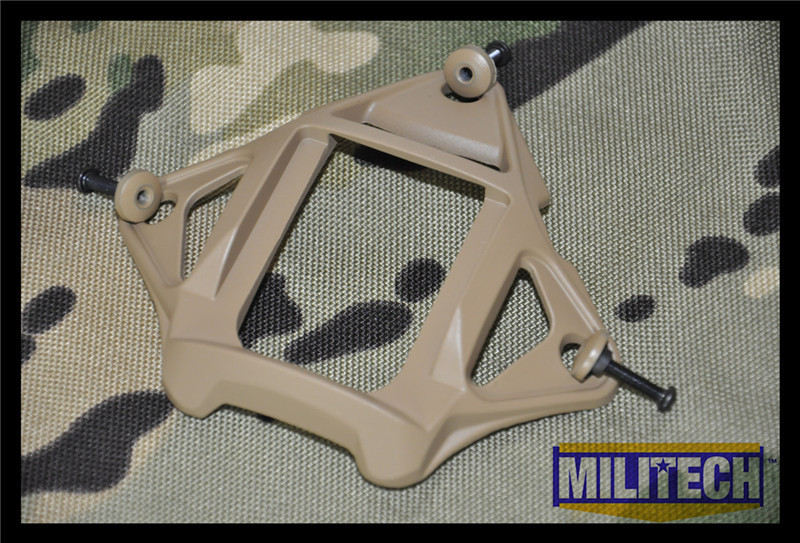 MILITECH Coyote Brown CB Color Aluminum Shroud MARSOC WARCOM Night Vision 3 Holes Goggle Mount Base NVG Ops Core Skeleton Shroud