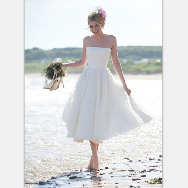 White Summer Tea Length Dress