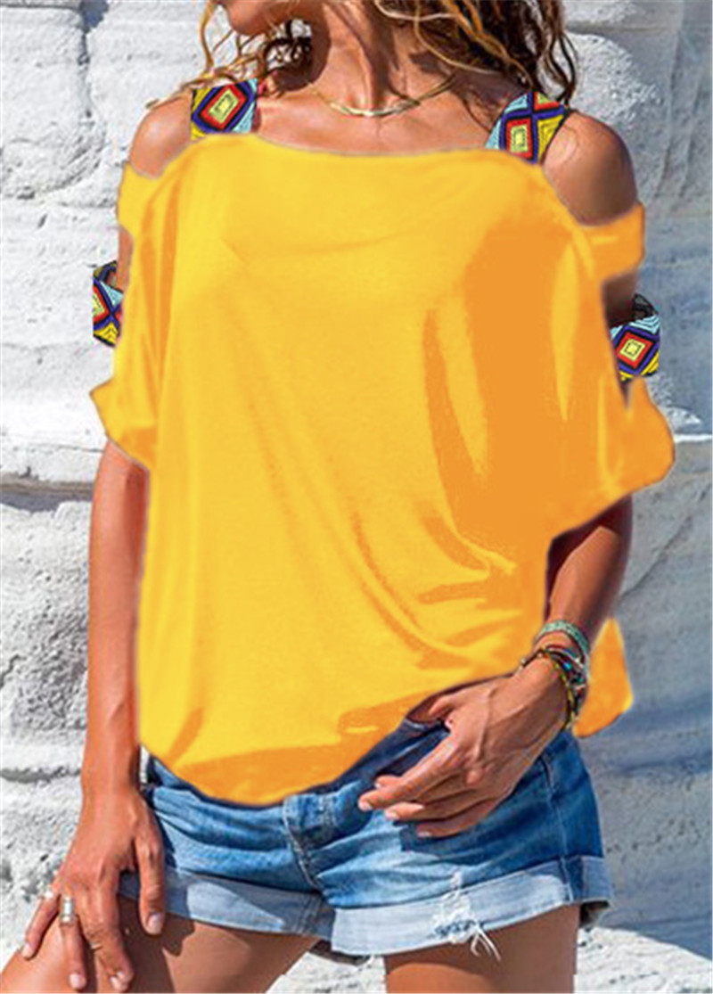 Sexy Off Shoulder TShirt Women Summer T Shirt Solid Color Hollow Out Short Sleeve Loose Casual Tees Tops Plus Size Streetwear in T Shirts from Women 39 s Clothing