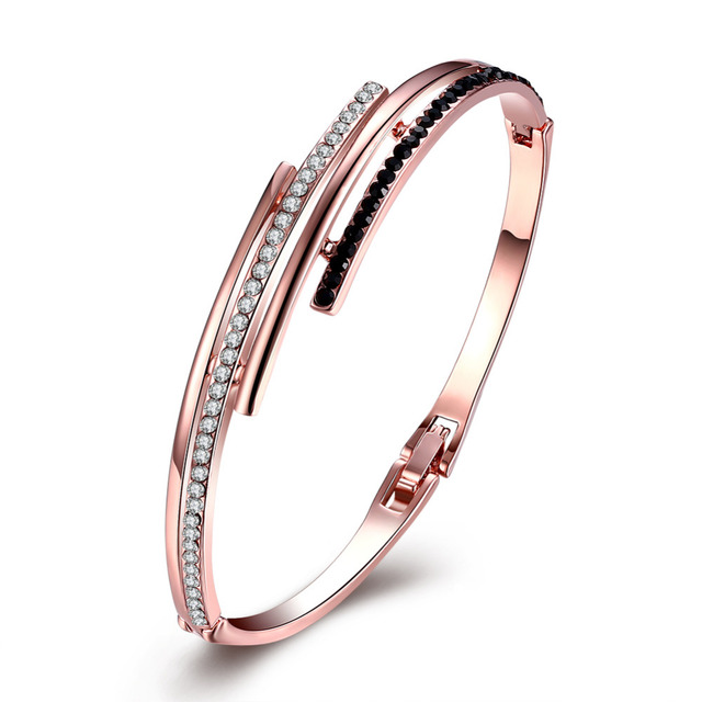Fashion Plated Rose Gold Cuff Bracelets & Bangles Fine Black With White Rhinestone Crystal Love Charm Bracelet For Women Jewelry
