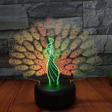 Павлин открытый экран 3d визуальная Ночная настольная лампа светильник креативный семь цветов Сенсорная зарядка Led подарок на день рождения настольная лампа для спальни
