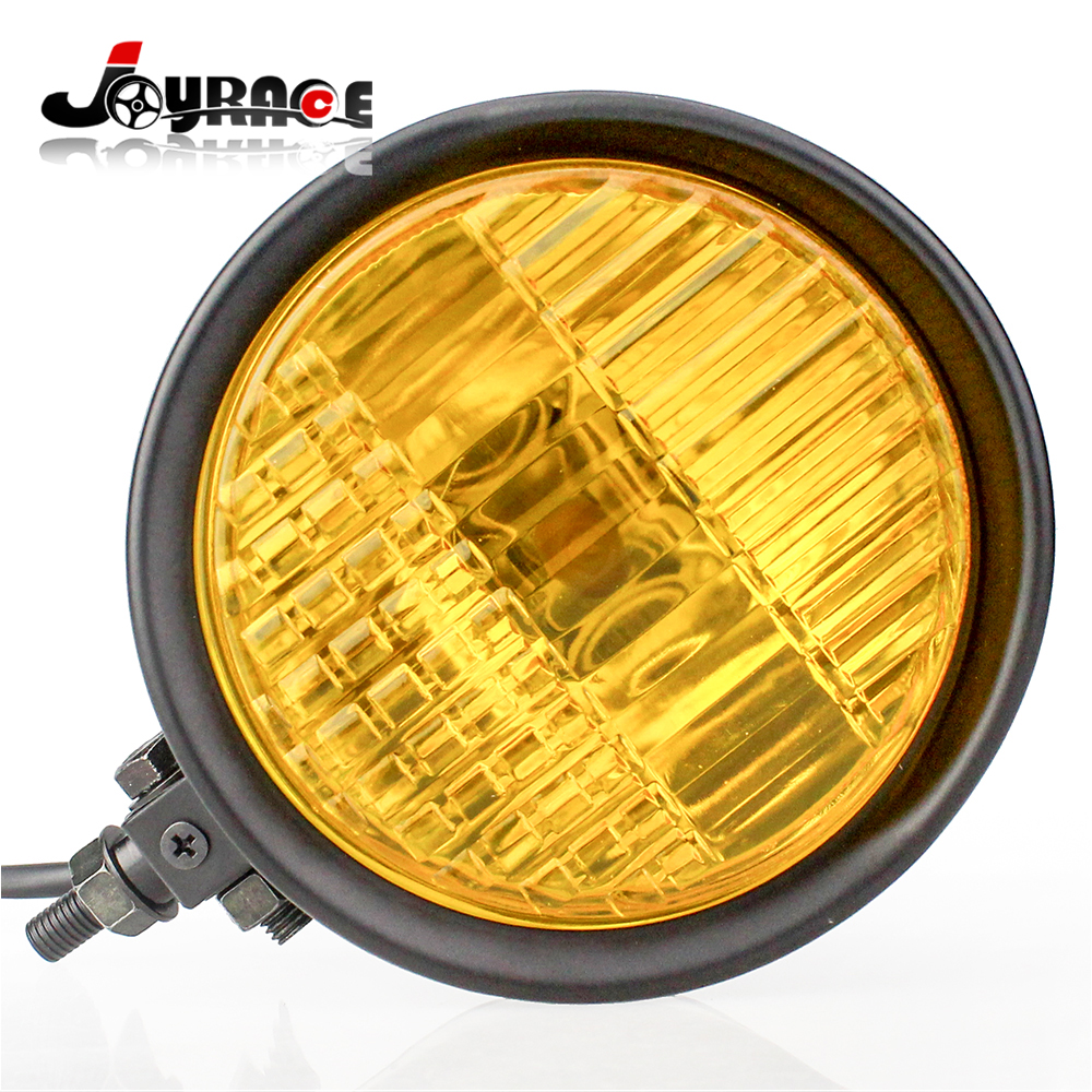 "Здесь можно купить  Custom Metal Moto Head Light H4 5-3/4"" 55/60W Hi+Lo Halogen Bulb Headlight Motorcycle Fog Light Yellow Color  Автомобили и Мотоциклы"