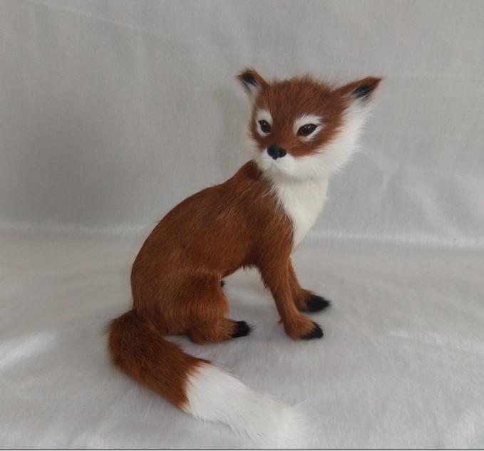 simulace zvíře 16x14cm hnědá liška model hračka polyetylen a kožešiny ruční práce, rekvizity dekorace dárek d0079
